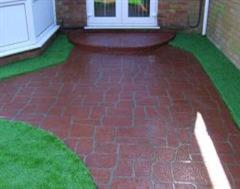 Artificial Grass with Stencil Concrete