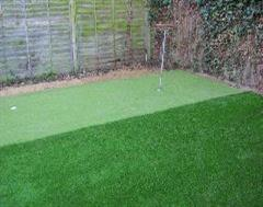 A closer look at the two artificial grass surfaces - Lawn and Putting Green