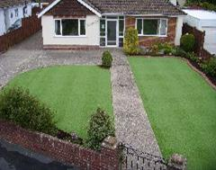 A two section Artificial Grass Lawn with Eurobrick Edging