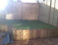 Artificial Grass on a raised platfom